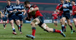 Munster's Jack O'Donoghue scores a try in the Guinness Pro 12 victory over Cardiff Blues at Musgrave Park. Photograph: Donall Farmer/Inpho