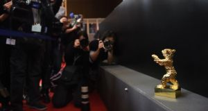 The Golden Bear for Best film trophy, awarded to Iranian dissident director Jafar Panahi in absentia for his film Taxi, is on display at the award winners press conference after the closing ceremony of the 65th International Film Festival Berlinale in Berlin. Photograph: AFP