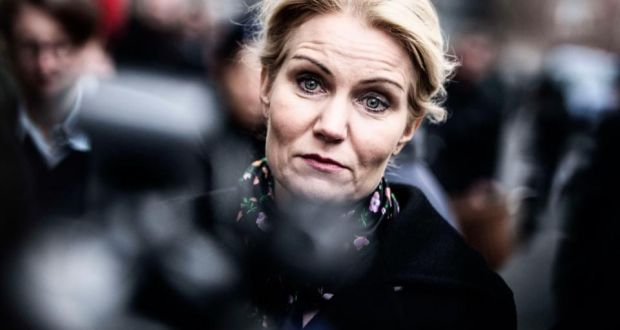 Danish prime minister Helle Thorning Schmidt arrives at the synagogue in Krystalgade in Copenhagen to show her sympathy. Photograph: Simon Laessoee/Scanpix/Reuters