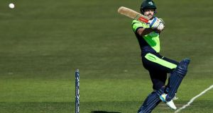 Ireland batsman  Ed Joyce plays a pull shot during the World Cup Pool B game against West Indies at Saxton Oval in Nelson, New Zealand. Photograph:  Hagen Hopkins/Getty Images