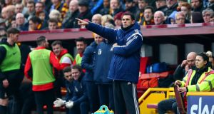 Sunderland manager Gus Poyet issues instructions to his players during his side's defeat to Bradford City in the FA Cup Fifth round match at Coral Windows Stadium, Valley Parade. Photograph: Getty Images