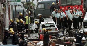 Photograph of the aftermath of the 1998 Omagh bomb in which 29 people died. Photograph: PA