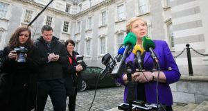 Minister for Justice Frances Fitzgerald speaking to media on the Children and Family Relationships Bill. Photograph: Collins
