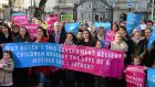 The group Mothers and Fathers Matter organised a photocall outside Leinster House yesterday as the Children and Family Relationships Bill 2015 was presented to Cabinet. Photograph: Eric Luke/The Irish Times