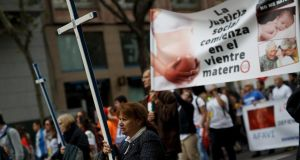 Anti-abortion protesters rally in Madrid  last year. Some believe the proposed reforms are too timid. Photograph: Pablo Blazquez Dominguez/Getty Images