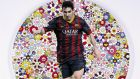 Detail from 'Lionel Messi and a Universe of Flowers'  by Takashi Murakami, which sold for £317,000 in a charity auction at Sotheby's, London