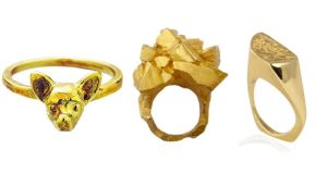 Chihuahua ring, €60, Verameat at April and the Bear; Cubes of gold ring, €285, aprilandthebear.com; Gold contrast ring, €560, dorai.ie