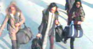 Still taken from CCTV  of (from left to right) an unnamed 15-year-old, Kadiza Sultana (16) and Shamima Begum (15) at Gatwick airport. The three girls are suspected of attempting to travel to Syria to join Islamic State. Photograph: Metropolitan Police/PA Wire