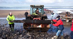 The finds (pictured) follow the discovery last year of part of a 20ft rudder from one of the vessels on the beach. Photograph: Ciaran McHugh Photography