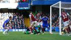 <b>Chelsea 1 Burnley 1 </b><br> Branislav Ivanovic (left) scores the first goal for Chelsea. Photo: Reuters / Eddie Keogh
