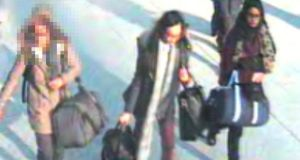 Still taken from CCTV of (from left to right) Amira Abase (15), Kadiza Sultana (16) and Shamima Begum (15) at Gatwick airport. The three girls are suspected of attempting to travel to Syria to join Islamic State. Photograph: Metropolitan Police/EPA