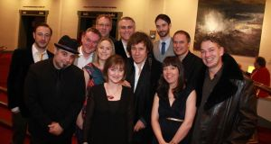 The Ballyturk Group at The Irish Times Theatre Awards: Clive Welsh, Teho Teardo, John Crumlish, Eamonn Fox, Sophie Flynn, Anne Clarke, Paul Fahy, Stephen Rea, Tom Rohan, Helen Atkinson, Jamie Vartan and Val Sherlock. Photograph: Nick Bradshaw/The Irish Times.