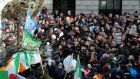 "Anti-water charges protest, Central Bank,   Dublin: ""Maybe 10,000 people"" turned out. Photograph: Dave Meehan"