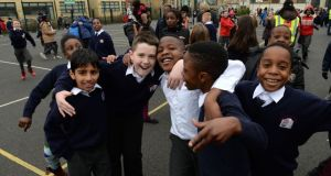 Children at St John the Evangelist National School in Adamstown, Co Dublin. Photograph: Dara Mac Dónaill/The Irish Times