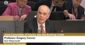Prof Gregory Connor of the Department of Economics, Finance and Accounting at NUI Maynooth speaking before the Oireachtas banking inquiry, February 25th, 2015