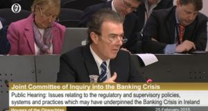 UCD accounting professor Eamonn Walsh speaking before the Oireachtas banking inquiry, February 25th, 2015