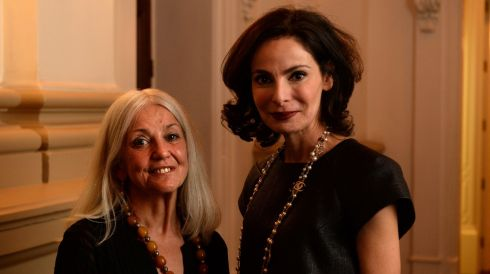 Poet Paula Meehan and Caroline Sleiman, Market Development Manager Moet Hennessy.  Photograph: Dara Mac Donaill / The Irish Times