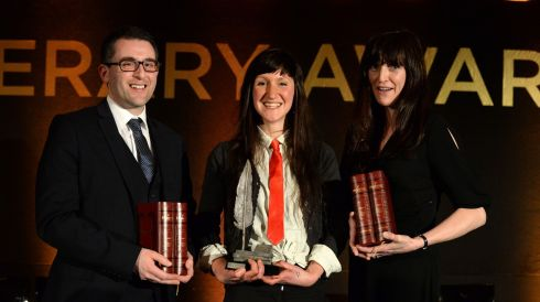 Hennessy Literary Award winners overall winner and  Emerging Fiction, Sara Baume with Simon Lewis (Emerging Poetry) and Henrietta McKervy (First Fiction)