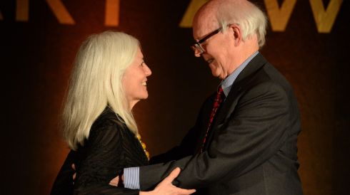 Judge Ciaran Carty, congratulates Paula Meehan,who was inducted into the Hennessy Literary Awards Hall of Fame at the 44th Annual Hennessy Literary Awards. Photograph: Dara Mac Donaill / The Irish Times