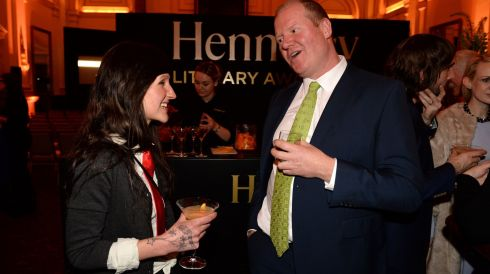Sara Baume, overall winner and Martin Doyle, The Irish Times.  Photograph: Dara Mac Donaill / The Irish Times