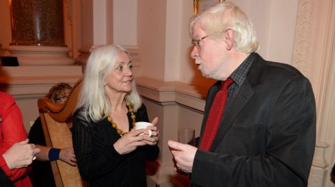Paula Meehan and Gerard Smyth, Poetry Editor, The Irish Times.   Photograph: Dara Mac Donaill / The Irish Times