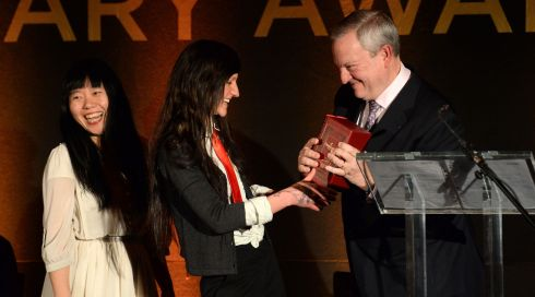 Writer Xiaolu Guo, judge, Sara Baume, Overall winner and Jean Michel Cochet, Ambassador de la Maison Hennessy.  Photograph: Dara Mac Donaill / The Irish Times
