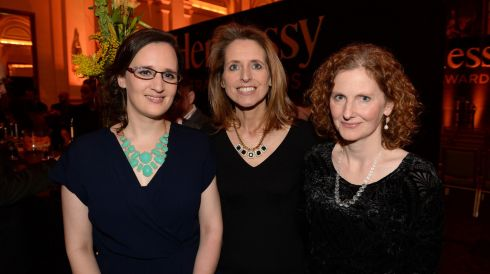 From left: Lisa Coen, Karen Hodge and Faith O'Grady, at the 44th Annual Hennessy Literary Awards.   Photograph: Dara Mac Donaill / The Irish Times