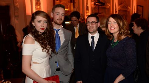 From left: Gillian Carberry, Kevin Murphy, Simon Lewis and Rozz Lewis, at the 44th Annual Hennessy Literary Awards. Photograph: Dara Mac Donaill / The Irish Times