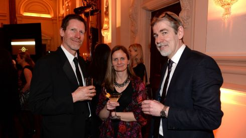 From left: Nick Urwin, Anita Heffernan and Ron Woods at the 44th Annual Hennessy Literary Awards.  Photograph: Dara Mac Donaill / The Irish Times