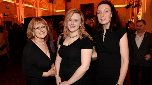 From left:  Louise Cole, Rhiannon Cole and Bernie Woods, at the 44th Annual Hennessy Literary Awards. Photograph: Dara Mac Donaill / The Irish Times