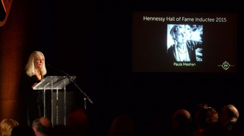 Paula Meehan, speaking at the 44th Annual Hennessy Literary Awards which recognise and reward emerging Irish writers and poets in the literary sphere.  Photograph: Dara Mac Donaill / The Irish Times