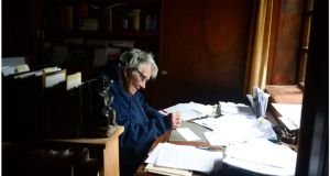 "Dervla Murphy in the study of her home in Lismore, Co Waterford, last year. ""Dervla Murphy is synonymous with passion, pertinacity and peregrination,"" says Anakana Schofield. ""Also, bicycle wheels. As a very young woman I first read Murphy's In Ethiopia With a Mule (1966) and credit it with dispelling the idea at 18 that if I was to travel alone as a woman, everyone would instantly want to kill me. Strange as it may sound: she put me in my body. I did travel alone and lived.   Photograph: Bryan O'Brien"