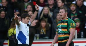 Northampton captain Dylan Hartley is shown a red card by referee JP Doyle during an Aviva Premiership game against Leicester Tigers in December. Photograph: David Rogers/Getty Images