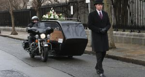 Motorbike fanatics are now able to get the ultimate send-off thanks to Massey Bros funeral directors, who have   purchased Ireland's first Harley-Davidson hearse in response to growing demand.  Picture  shows John Gibson of Massey Bros on a customised Harley-Davidson Electra Glide hearse, with Massey Bros business manager Peter Maguire in front. The  hearse will make its debut at the Irish Motorbike & Scooter Show  this weekend at the RDS. Photograph: Brenda Fitzsimons/The Irish Times