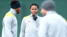 Liverpool's Daniel Sturridge  with Raheem Sterling  during a training session at Melwood, Liverpool.