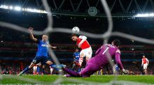 Arsenal's Olivier Giroud misses a chance to score in the second half. Photograph: Eddie Keogh/Reuters