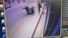 CCTV footage catches the moment a man and woman fall into a sinkhole after getting off the bus in Seoul. Video: Reuters
