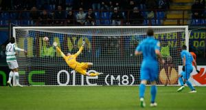 Inter Milan's Fredy Gaurin scores his side's late goal in the Europea League second leg at the San Siro. Photograph: match. Andrew Couldridge/Action Images via Reuters/Livepic