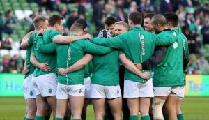 Ireland head coach Joe Schmidt talks to his team before the Six Nations game against France. The only change to the side that won that game is  because of injury. Photograph: Dan Sheridan/Inpho