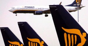 Ryanair: the low-cost carrier saw its shares fall 7 cent to €9.96, which was roughly in line with other airline stocks. Photograph: Andy Rain/EPA