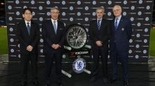 Yokohama Rubber CEO Mr Katsuragawa and Chairman Mr Nagumo with Chelsea manager Jose Mourinho and Bruce Buck during the annoucement of Chelsea's new shirt sponsorship deal at Stamford Bridge. Photo: Darren Walsh/PA