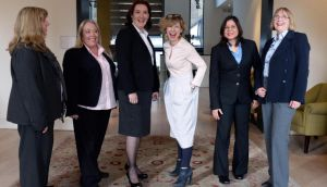 Sonya Lennon, third from right, with women at the Dress for Success initiative. Photograph: Eric Luke