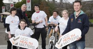 Students for health: Michael Hanrahan (centre) and fellow members of University College Cork. Photograph: Tomas Tyner