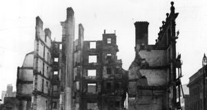 'The history of how and why power changed hands in Ireland between 1916 and 1921 cannot be massaged out of existence in order to pretend that a British government would have ceded power to a native Irish government without the use of violence.' Dublin in ruins after the Easter Rising. Photograph: Topical Press Agency/Getty Images