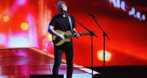 Ed Sheeran on stage during the Brit Awards. Promoter Peter Aiken has ruled out a third Croke Park gig featuring the singer this summer. Photograph: Gareth Cattermole/Getty Images
