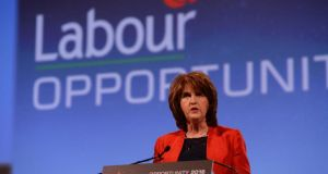 Tanaiste and Labour Party leader Joan Burton addresses her party's  conference at Killarney. Photograph: Cyril Byrne/The Irish Times