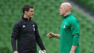 Ireland's Johnny Sexton and Paul O'Connell in discussion during the Captains Run  at the Aviva Stadium ahead of Sunday's Six Nations clash with England. Photograph:   Niall Carson/PA