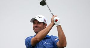 Pádraig Harrington watches carefully after playing his tee shot on the 11th hole during the second round of The Honda Classic  PGA National Resort & Spa  Champion Course  in Palm Beach Gardens, Florida. Photograph: Sam Greenwood/Getty Images
