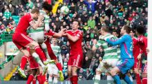 Celtic's Jason Denayer scores his side's opening goal during the Scottish Premiership match against Aberdeen  at Celtic Park. Photograph:   Jeff Holmes/PA