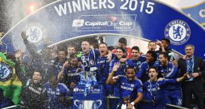 Chelsea beat Spurs 2-0 at Wembley to lift the League Cup. Photograph:   EPA